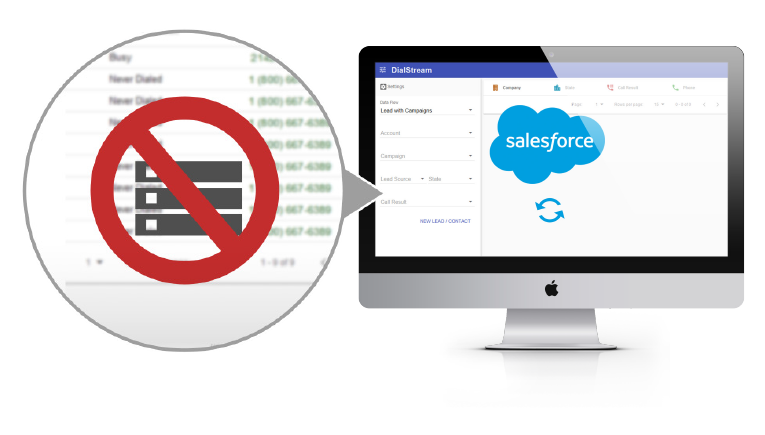 Salesforce contacts through Dialstream