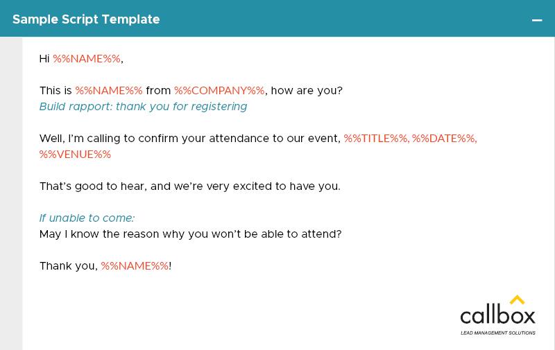 Call-to-Invite Script Example