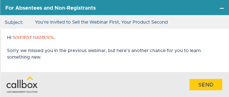 Webinar Invite for Absentees Email Example