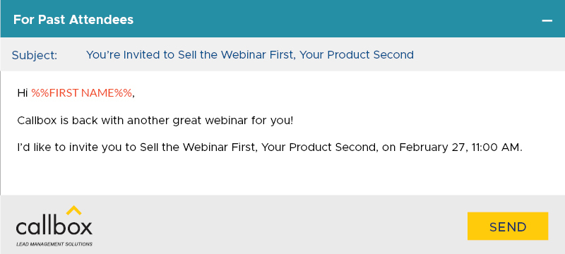Webinar Invite for Past Attendees Email Example