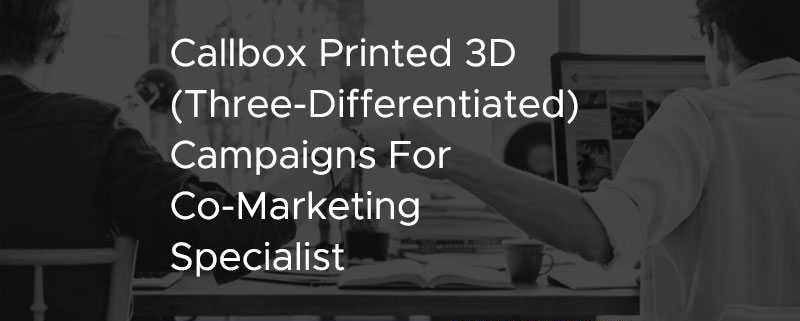 Callbox Printed 3D Three Differentiated Campaigns For Co-Marketing Specialist [CASE STUDY]